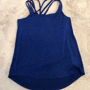 Prana Blue Criss Ross Work Out Tank with Cowl Detail in the Back, Size M